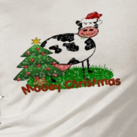 Cartoon Cow Behind Christmas Tree T-shirt