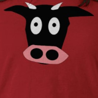 funny comic cow head T-shirt