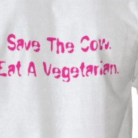 """Save a cow, eat a vegetarian"" T-shirt"